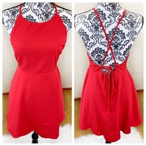 "Lulus ""Play On Curves"" Red Backless Dress"